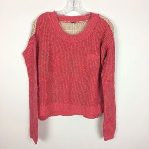 Free People Small Coral Lace Back Pullover Sweater